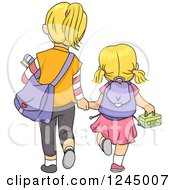 Clipart Of A Rear View Of Blond Sisters Walking To School Royalty Free Vector Illustration