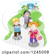Clipart Of A Group Of Excited Diverse School Children After School Royalty Free Vector Illustration