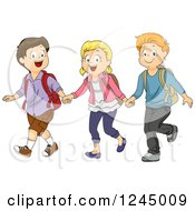 Clipart Of A Group Of Happy School Children Walking And Holding Hands Royalty Free Vector Illustration