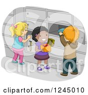 Clipart Of Children Putting Items In Their School Lockers Royalty Free Vector Illustration