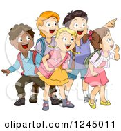 Clipart Of A Group Of Excited Diverse School Children Looking And Pointing Royalty Free Vector Illustration