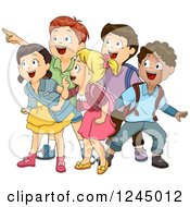 Clipart Of Excited School Children Looking And Pointing Royalty Free Vector Illustration