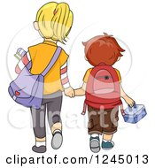 Clipart Of A Rear View Of A Big Sister And Little Brother Walking To School Royalty Free Vector Illustration