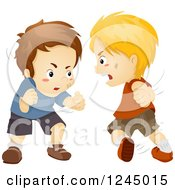 Clipart Of Angry Boys Fighting Royalty Free Vector Illustration