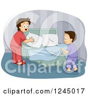 Clipart Of Brothers Making A Bed Together Royalty Free Vector Illustration by BNP Design Studio