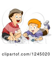 Clipart Of Happy Boys Playing With Toy Cars Royalty Free Vector Illustration