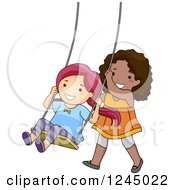 Clipart Of Happy Girls Playing On A Swing Royalty Free Vector Illustration by BNP Design Studio
