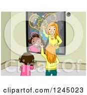 Clipart Of Girls Playing In Front Of An Interactive Mirror Royalty Free Vector Illustration