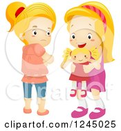 Clipart Of A Jealous Girl Eyeing A New Doll That Belongs To Her Friend Royalty Free Vector Illustration