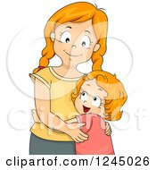 Clipart Of Red Haired Sisters Hugging Royalty Free Vector Illustration