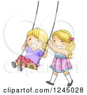 Clipart Of Happy Blond Girls Playing On A Swing Royalty Free Vector Illustration by BNP Design Studio