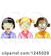 Clipart Of Diverse Girls With Cucumbers Over Their Eyes At A Spa Royalty Free Vector Illustration
