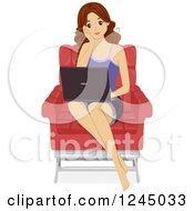 Clipart Of A Brunette Teenage Girl Using A Laptop In A Chair Royalty Free Vector Illustration