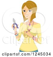 Clipart Of A Blond Woman Showing Her Home Made Jewelry Royalty Free Vector Illustration