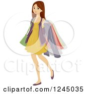Clipart Of A Teenage Brunette Girl Carrying Dry Cleaned Clothes Royalty Free Vector Illustration