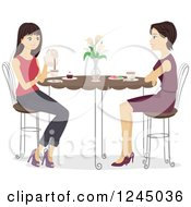 Clipart Of A Mother And Daughter Enjoying Tea Together Royalty Free Vector Illustration by BNP Design Studio