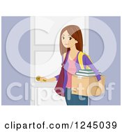 Clipart Of A Teenage Girl Carrying A Box To A Dorm Room Royalty Free Vector Illustration by BNP Design Studio