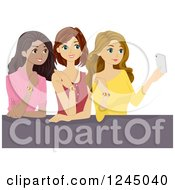 Clipart Of Teen Girls Taking A Selfie With Their Friendship Bracelets Royalty Free Vector Illustration