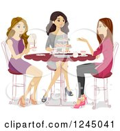 Clipart Of Teen Girls Talking At A Tea Party Royalty Free Vector Illustration