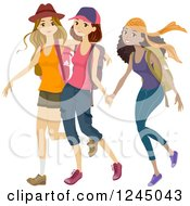 Clipart Of Diverse Teen Girls Hiking Royalty Free Vector Illustration