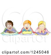 Clipart Of Diverse Children Laying Down For Nap Time Royalty Free Vector Illustration