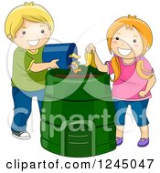 Clipart Of A Boy And Girl Composting A Banana And Other Items Royalty Free Vector Illustration