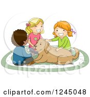 Clipart Of A Boy And Girls Petting A Dog Royalty Free Vector Illustration
