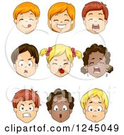 Clipart Of Faces Of Caucasian And African American Children Royalty Free Vector Illustration by BNP Design Studio