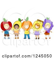 Clipart Of Happy Diverse Children Wearing Fruit Costumes Royalty Free Vector Illustration by BNP Design Studio