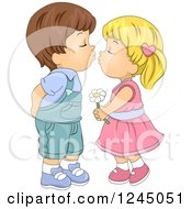 Clipart Of A Cute Kid Couple About To Kiss Royalty Free Vector Illustration by BNP Design Studio
