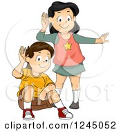 Clipart Of A Boy And Girl Cupping Their Ears And Listening Royalty Free Vector Illustration