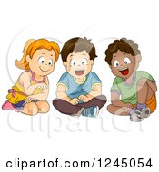Clipart Of A Girl And Boys Sitting And Looking At Something Royalty Free Vector Illustration
