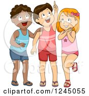 Clipart Of Excited Children In Swimwear Looking Up Royalty Free Vector Illustration