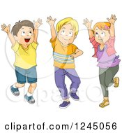 Clipart Of A Girl And Boys Jumping And Playing Catch Royalty Free Vector Illustration by BNP Design Studio