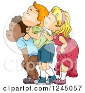 Clipart Of A Group Of Children Happily Smelling Royalty Free Vector Illustration