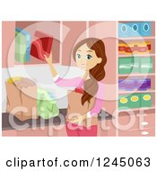 Clipart Of A Brunette Woman Putting Away Groceries Royalty Free Vector Illustration