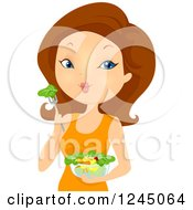 Clipart Of A Brunette Woman Eating A Healthy Salad Royalty Free Vector Illustration