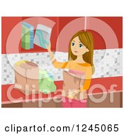 Clipart Of A Caucasian Woman Putting Away Groceries Royalty Free Vector Illustration