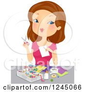 Clipart Of A Brunette Woman Working On A Craft Project Royalty Free Vector Illustration