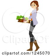 Clipart Of A Young Brunette Woman Carrying A Tray Of Produce Royalty Free Vector Illustration