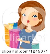 Clipart Of A Brunette Woman Looking At Fabric Royalty Free Vector Illustration