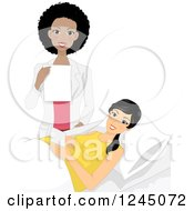 Clipart Of A Happy Black Obstetrics And Gynecology Doctor And Pregnant Patient Royalty Free Vector Illustration