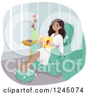 Clipart Of A Beautiful Young Black Woman Reading A Magazine At A Spa Royalty Free Vector Illustration