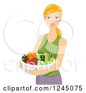 Clipart Of A Happy Blond Woman Holding A Bowl Of Vegetables Royalty Free Vector Illustration