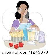 Clipart Of A Happy Black Woman Making Apple Puree In A Blender Royalty Free Vector Illustration by BNP Design Studio