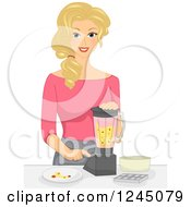 Clipart Of A Happy Blond Woman Mixing Fruit In A Blender Royalty Free Vector Illustration