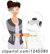 Clipart Of A Wedding Dress Maker Measuring A Mannequin Royalty Free Vector Illustration