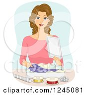 Clipart Of A Happy Woman Wrapping A Shirt In A Gift Box Royalty Free Vector Illustration