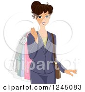Clipart Of A Business Woman Carrying Dry Cleaned Apparel Royalty Free Vector Illustration