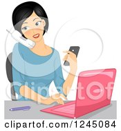 Clipart Of A Multitasking Woman Using A Laptop Texting And Talking On A Phone Royalty Free Vector Illustration